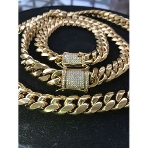 Harlembling 18k Gold Cuban Miami Bracelet & Chain